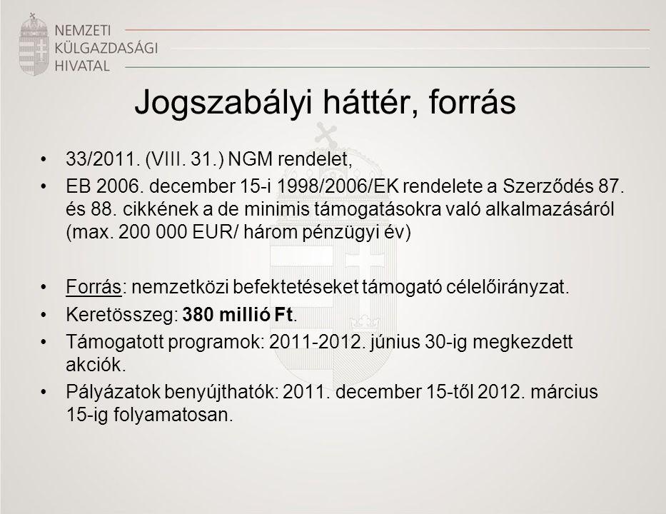 Jogszabályi háttér, forrás •33/2011. (VIII. 31.) NGM rendelet, •EB 2006. december 15-i 1998/2006/EK rendelete a Szerződés 87. és 88. cikkének a de min