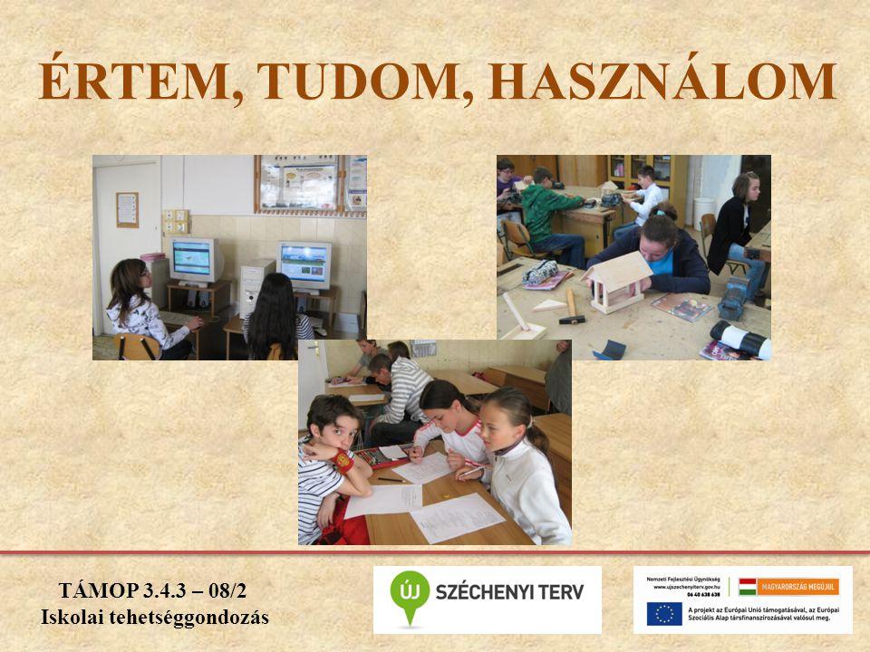 ÉRTEM, TUDOM, HASZNÁLOM TÁMOP 3.4.3 – 08/2 Iskolai tehetséggondozás