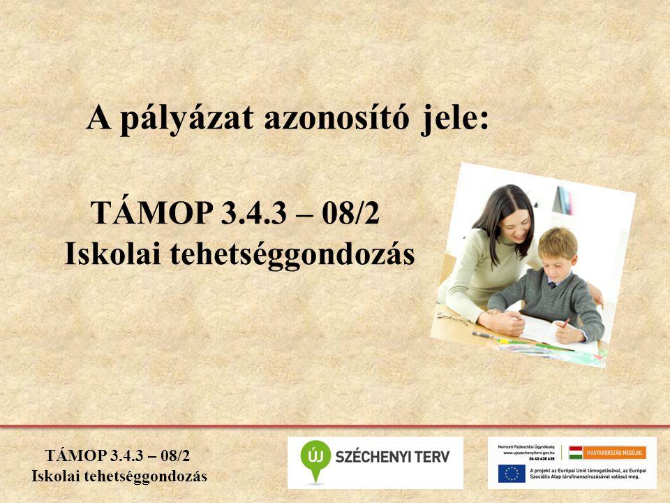 A pályázat azonosító jele: TÁMOP 3.4.3 – 08/2 Iskolai tehetséggondozás TÁMOP 3.4.3 – 08/2 Iskolai tehetséggondozás