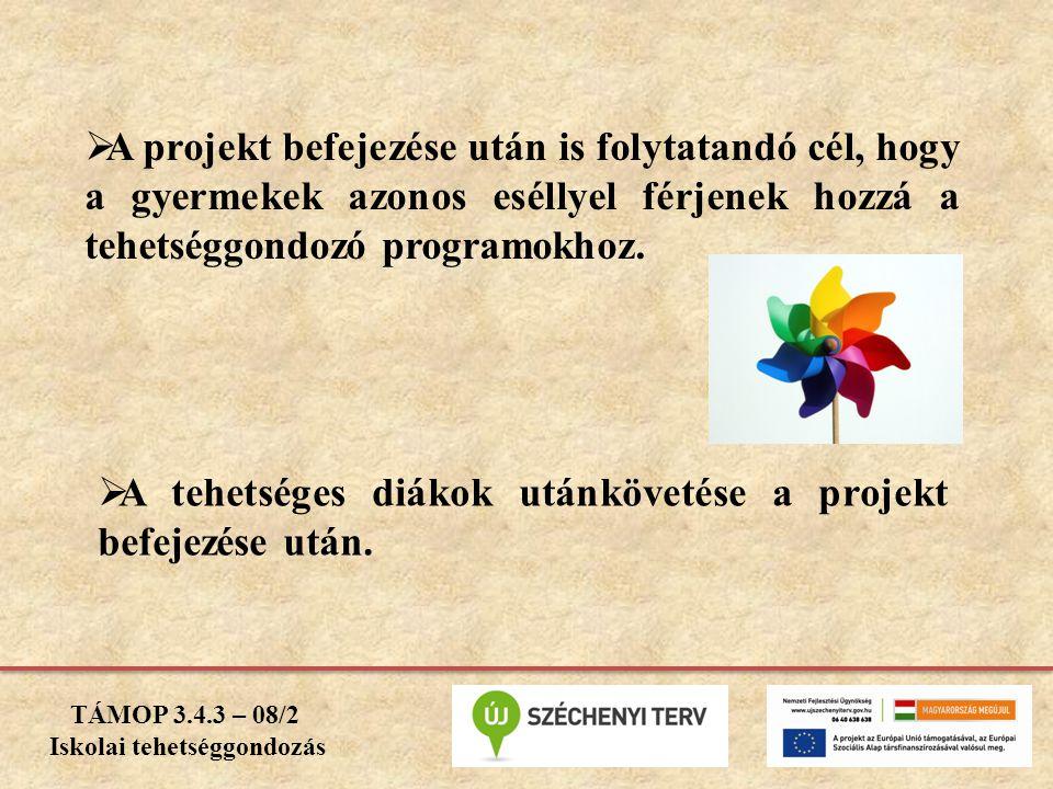  A projekt befejezése után is folytatandó cél, hogy a gyermekek azonos eséllyel férjenek hozzá a tehetséggondozó programokhoz.  A tehetséges diákok