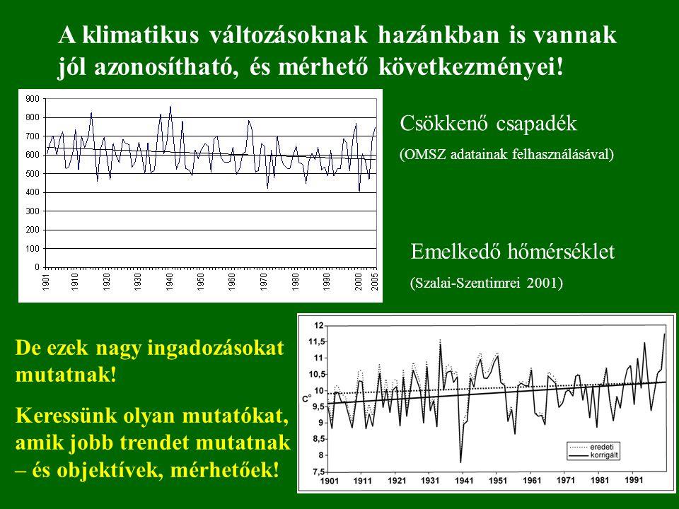 A klimatikus változásoknak hazánkban is vannak jól azonosítható, és mérhető következményei! De ezek nagy ingadozásokat mutatnak! Keressünk olyan mutat