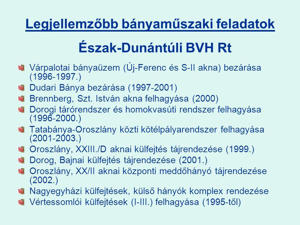 Várpalotai bányaüzem (Új-Ferenc és S-II akna) bezárása (1996-1997.) Dudari Bánya bezárása (1997-2001) Brennberg, Szt.