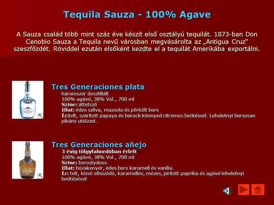 Tequila Sauza - 100% Agave A Sauza család több mint száz éve készít első osztályú tequilát. 1873-ban Don Cenobio Sauza a Tequila nevű városban megvásá