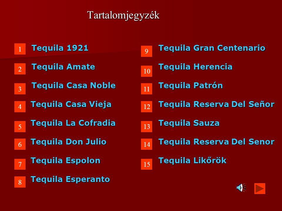 Tartalomjegyzék Tequila 1921 Tequila Gran Centenario Tequila Amate Tequila Herencia Tequila Casa Noble Tequila Patrón Tequila Casa ViejaTequila Reserv