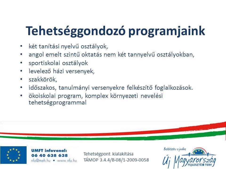 Tehetséggondozó programjaink • két tanítási nyelvű osztályok, • angol emelt szintű oktatás nem két tannyelvű osztályokban, • sportiskolai osztályok •