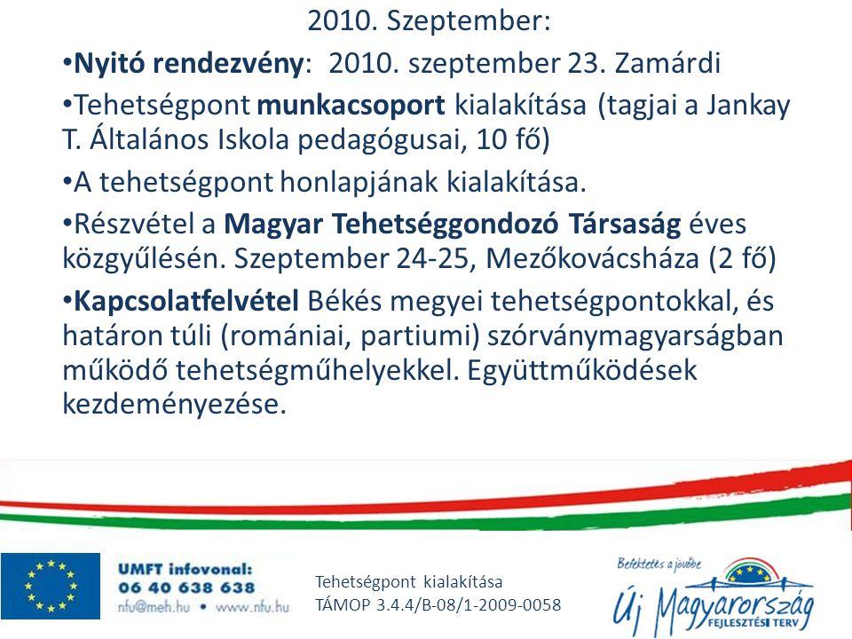 2010. Szeptember: • Nyitó rendezvény: 2010. szeptember 23. Zamárdi • Tehetségpont munkacsoport kialakítása (tagjai a Jankay T. Általános Iskola pedagó