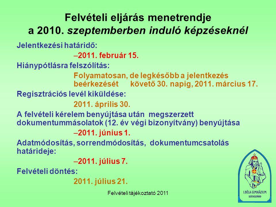 Felvételi tájékoztató 2011 Felvételi eljárás menetrendje a 2010. szeptemberben induló képzéseknél Jelentkezési határidő: –2011. február 15. Hiánypótlá