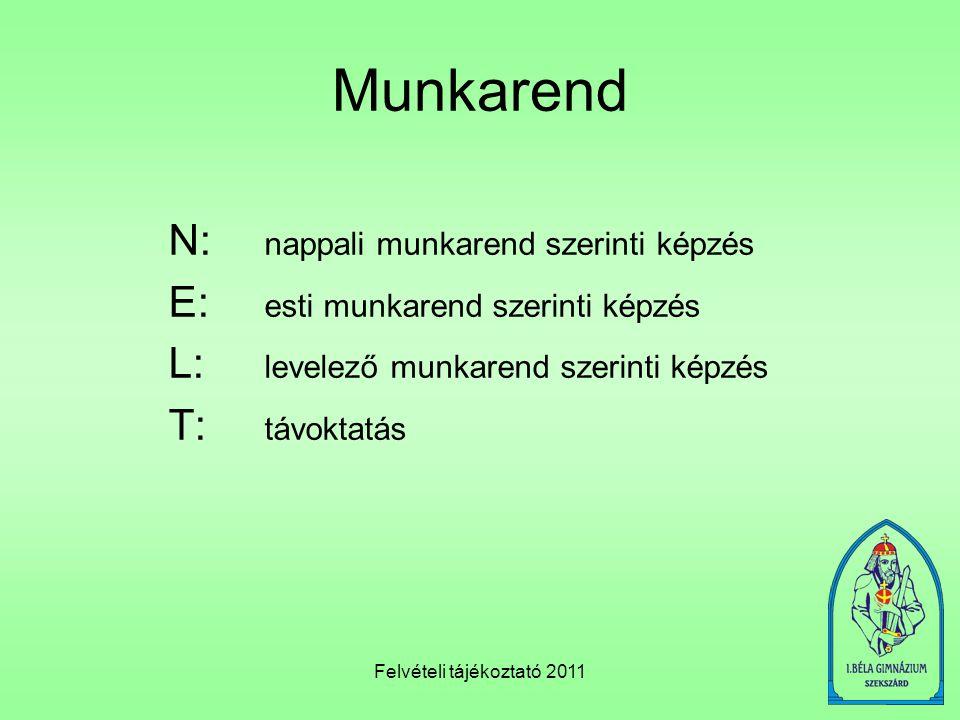 Felvételi tájékoztató 2011 Munkarend N: nappali munkarend szerinti képzés E: esti munkarend szerinti képzés L: levelező munkarend szerinti képzés T: t