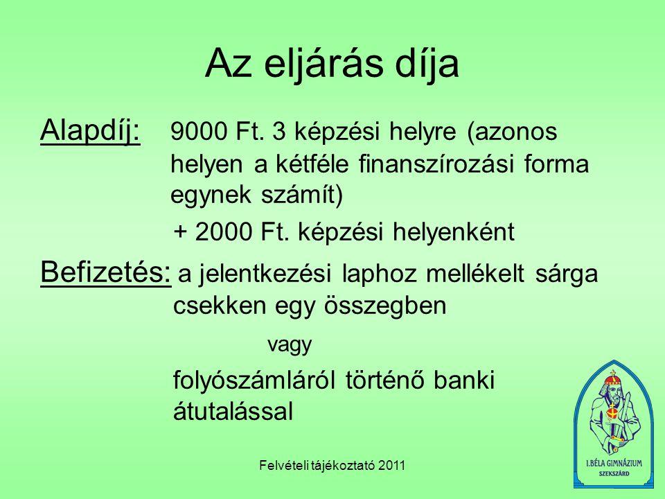 Felvételi tájékoztató 2011 Példa felvételi pontok számítására (jogász képzés) a./ Tanulmányi pontok középiskolai év végi eredmények tárgy11.év vége12.év vége Magyar nyelv és irodalom(4+4)4(5+5)5 Történelem55 Matematika34 Angol nyelv55 Ének55 Összesen2224 (22+24) x 2 = 92 pont