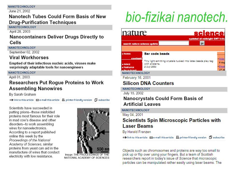 bio-fizikai nanotech. példák