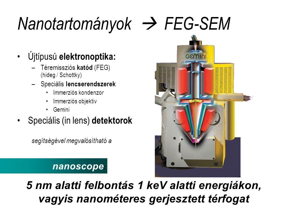 Nanotartományok  FEG-SEM •Újtípusú elektronoptika: –Téremissziós katód (FEG) (hideg / Schottky) –Speciális lencserendszerek •Immerziós kondenzor •Immerziós objektiv •Gemini •Speciális (in lens) detektorok segítségével megvalósítható a nanoscope : 5 nm alatti felbontás 1 keV alatti energiákon, vagyis nanométeres gerjesztett térfogat