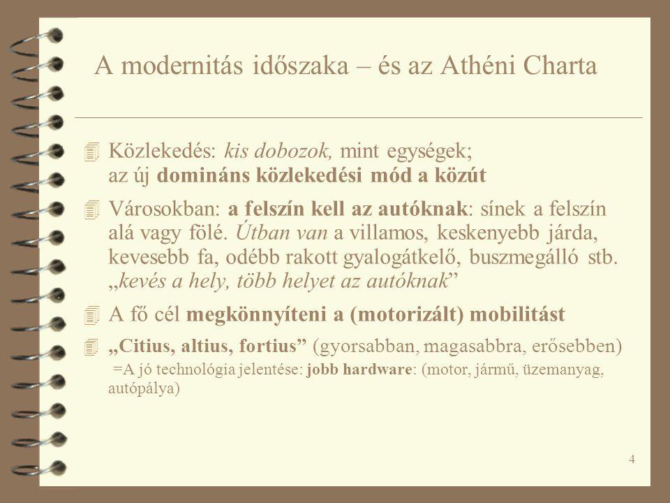 4 A modernitás időszaka – és az Athéni Charta 4 Közlekedés: kis dobozok, mint egységek; az új domináns közlekedési mód a közút 4 Városokban: a felszín kell az autóknak: sínek a felszín alá vagy fölé.