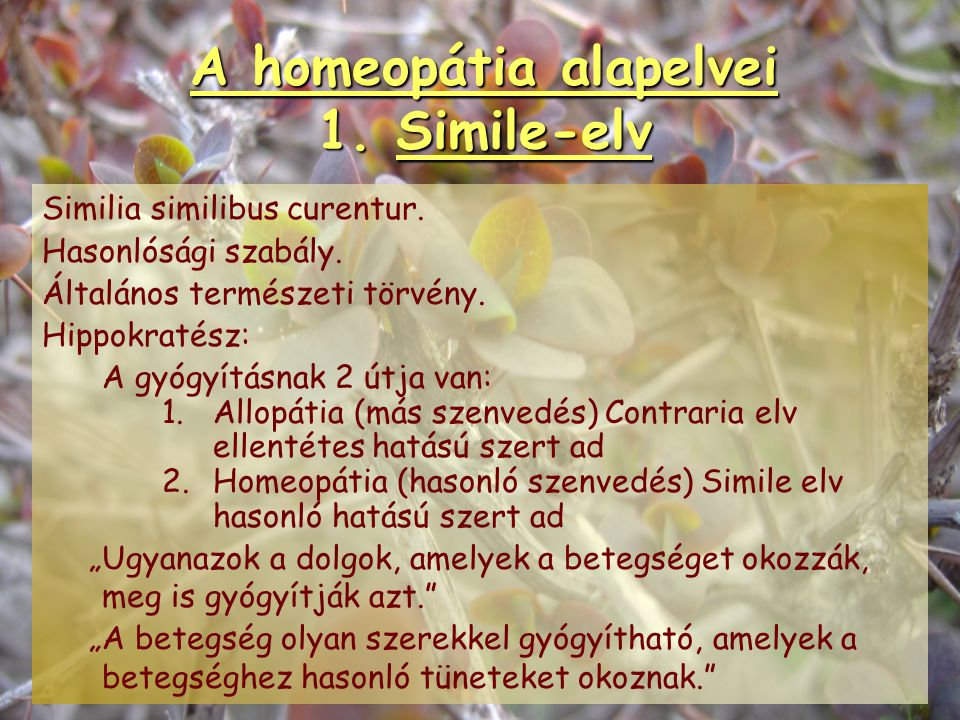 A homeopátia Magyarországon 3.korszak 1990-től Egészségügyi Tudományos Tanács feloldja a tilalmat 1991 Magyar Homeopata Orvosi Egyesület megalakulása
