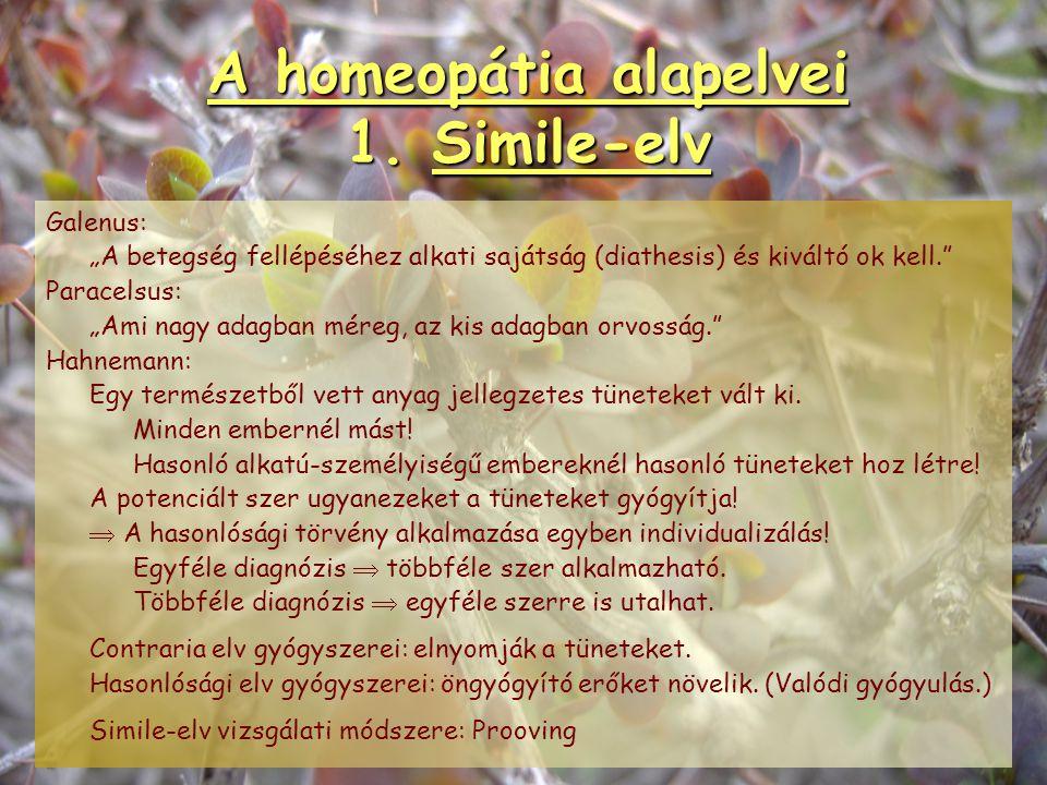 A homeopátia alapelvei 1. Simile-elv Similia similibus curentur. Hasonlósági szabály. Általános természeti törvény. Hippokratész: A gyógyításnak 2 útj