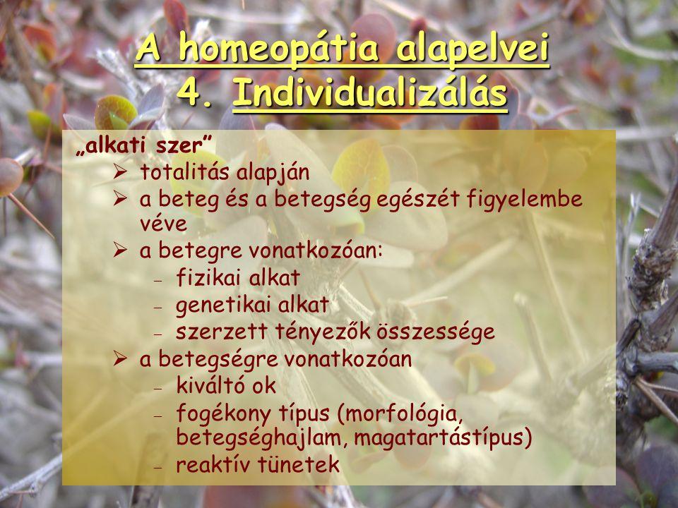 """A homeopátia alapelvei 4. Individualizálás """"tüneti szer""""   lokális tünetek alapján   """"teljes értékű helyi tünet""""   fő szempontok: – – etiológia"""