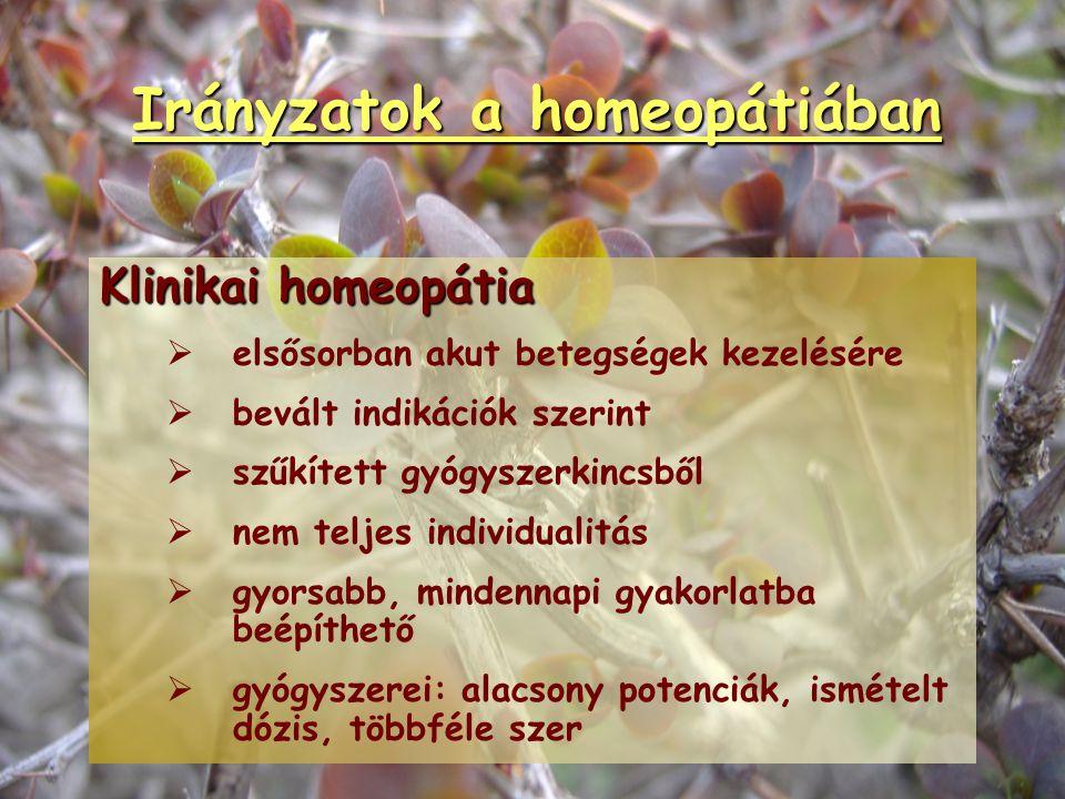 Irányzatok a homeopátiában Klasszikus homeopátia   akut és krónikus betegségek kezelésére   a beteg ember gyógyítása   holisztikus, individuális