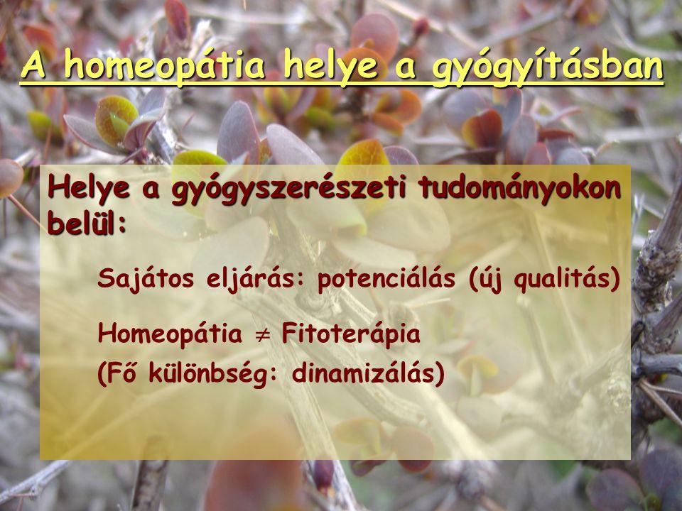 A homeopátia helye a gyógyításban Helye az orvostudományon belül: Komplex, önálló diagnosztikus és terápiás tudomány. Lehetséges az allopátiás kombiná