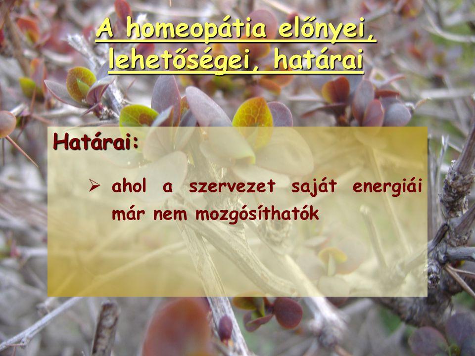 A homeopátia előnyei, lehetőségei, határai Hátrányai:   Gyakorlása időigényes.   Tanulása és gyakorlása hosszú időt vesz igénybe.   Türelmetlen