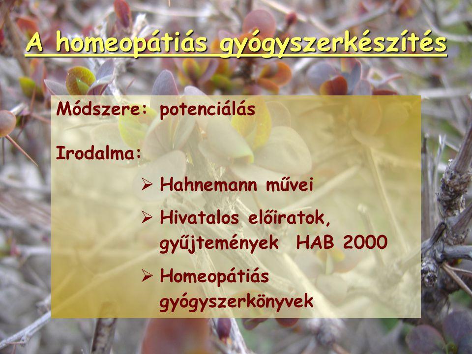 A homeopátiás gyógyszertan Alapanyagok:   emberi vagy állati eredetű betegségi produktumokból váladékokból testnedvekből kóros szövetekből mikrokult