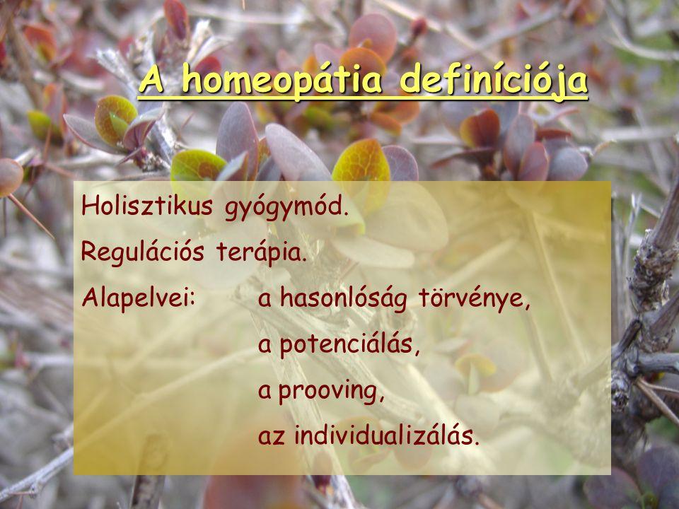 A homeopátia definíciója Önálló diagnosztikus és terápiás rendszer, mely klinikailag alkalmazza a hasonlóság- jelenséget, és infinitezimális dózisokba