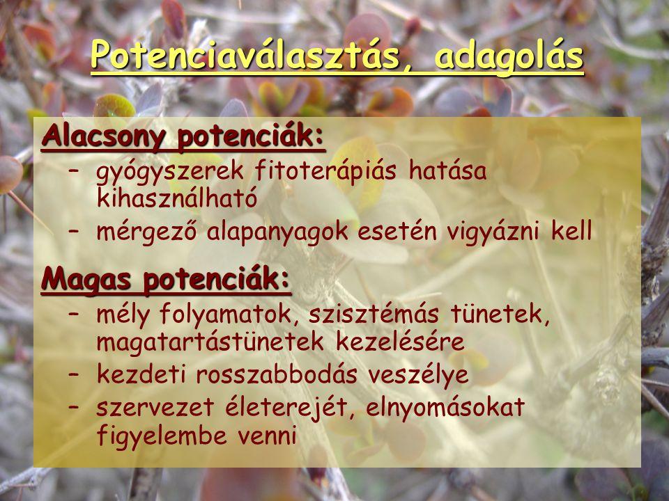 Potenciaválasztás, adagolás Akut betegségKrónikus betegség Tüneti (+ alkati szer)!Alkati (+ tüneti) szer! Szükség esetén bioterápia Alacsony potencia