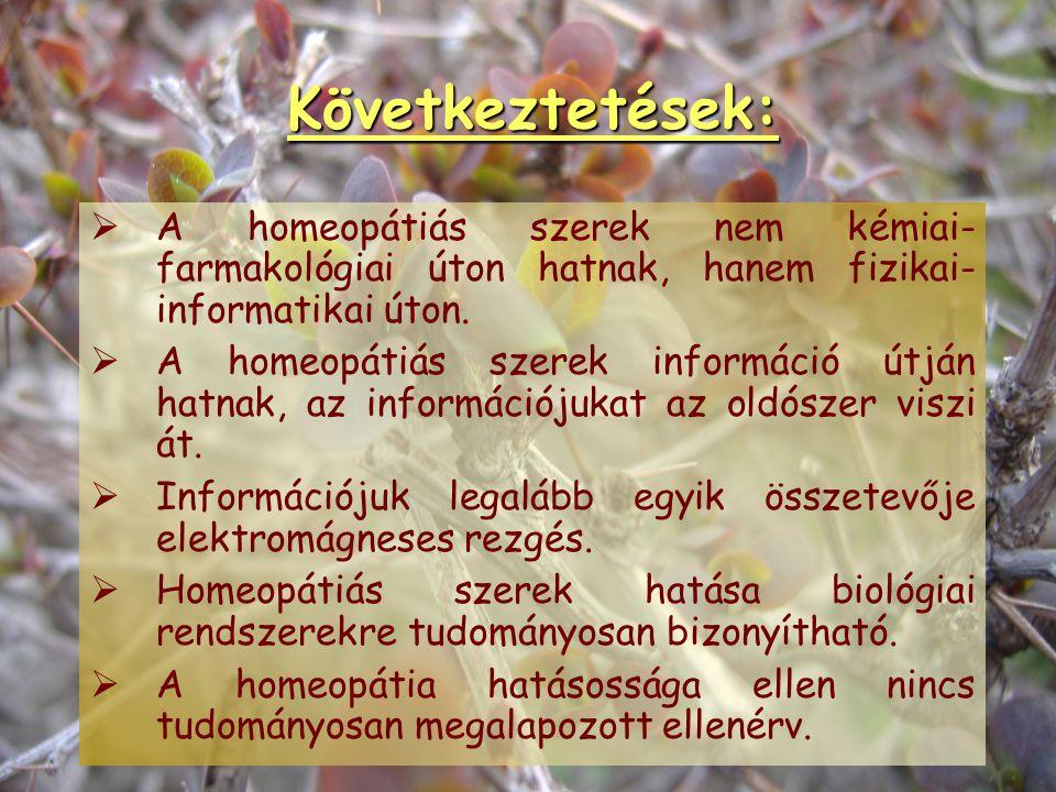 Valódi homeopátiás kutatások Prooving (gyógyszervizsgálatok) Új és régi szerek vizsgálata (mai növények, mai embereken) Proovingolt szert betegnek adn