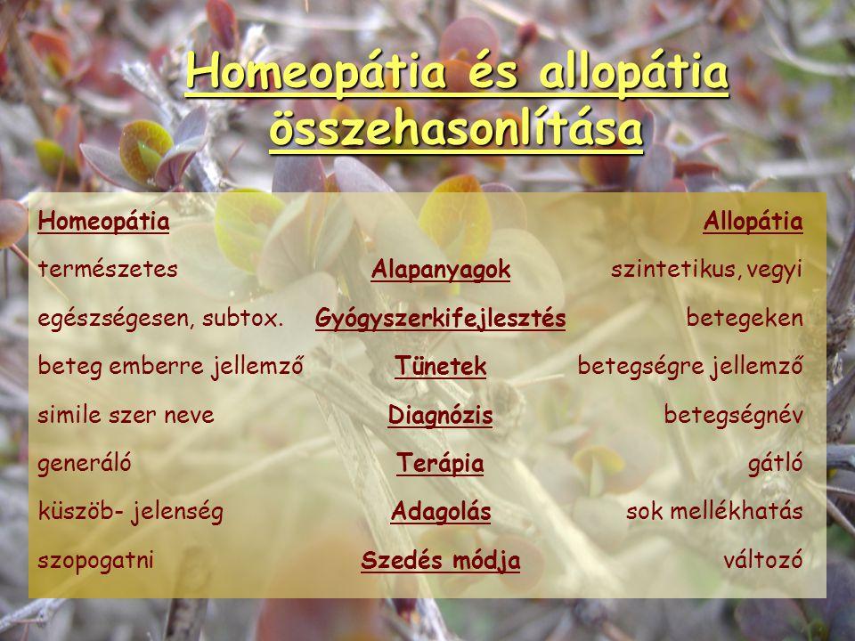 """""""Homeopátia"""" homoiosz: hasonló pathosz: szenvedés """"hasonló szenvedés tana"""" """"hasonszenvi orvoslás"""" SIMILE ELV allosz: más, különböző, idegen """"allopátia"""