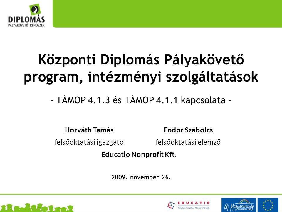 Központi Diplomás Pályakövető program, intézményi szolgáltatások - TÁMOP 4.1.3 és TÁMOP 4.1.1 kapcsolata - 2009.