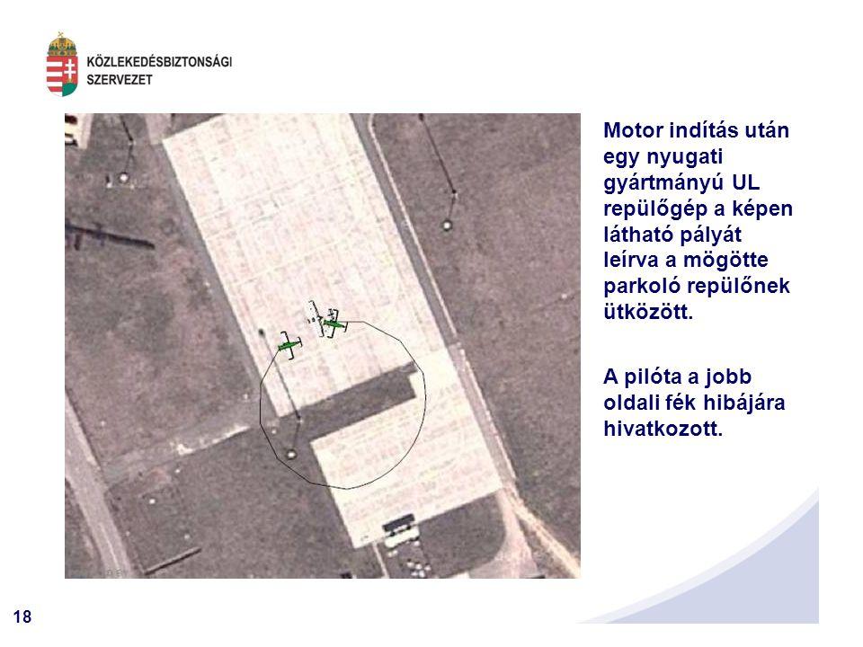 18 Motor indítás után egy nyugati gyártmányú UL repülőgép a képen látható pályát leírva a mögötte parkoló repülőnek ütközött.