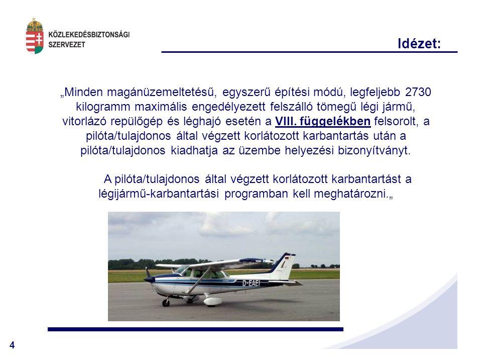 """4 """"Minden magánüzemeltetésű, egyszerű építési módú, legfeljebb 2730 kilogramm maximális engedélyezett felszálló tömegű légi jármű, vitorlázó repülőgép és léghajó esetén a VIII."""