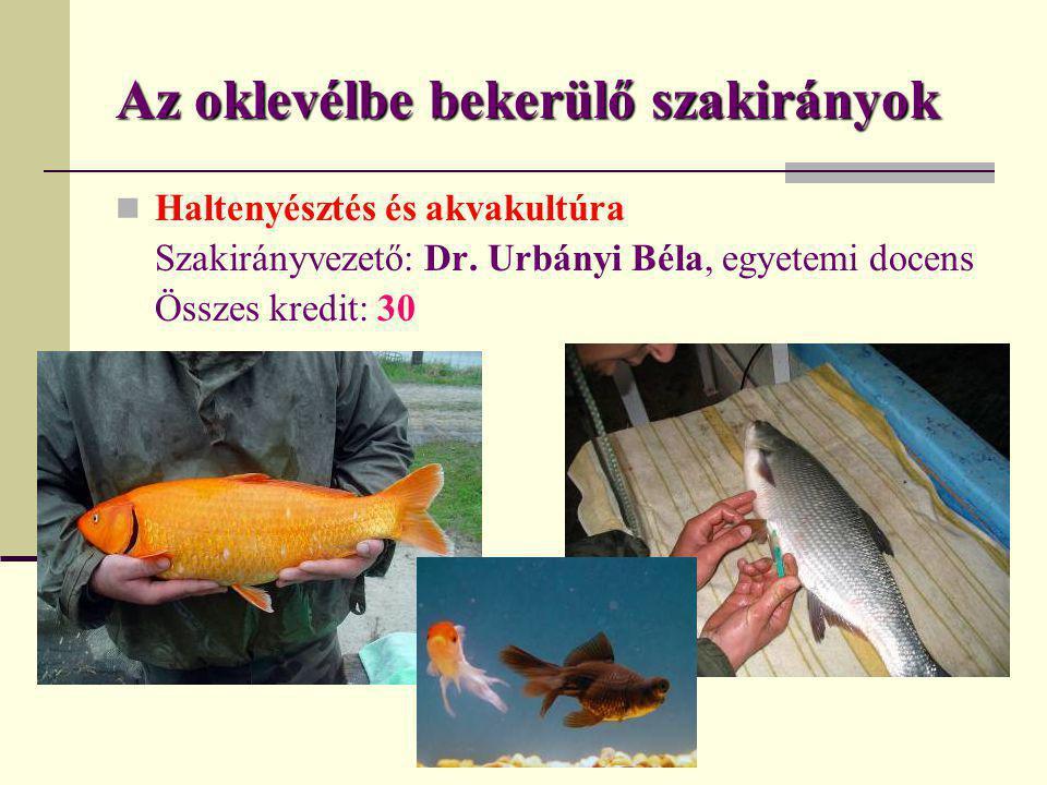 Az oklevélbe bekerülő szakirányok  Haltenyésztés és akvakultúra Szakirányvezető: Dr. Urbányi Béla, egyetemi docens Összes kredit: 30