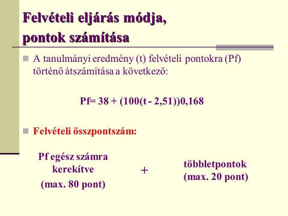 Felvételi eljárás módja, pontok számítása  A tanulmányi eredmény (t) felvételi pontokra (Pf) történő átszámítása a következő: Pf= 38 + (100(t - 2,51)
