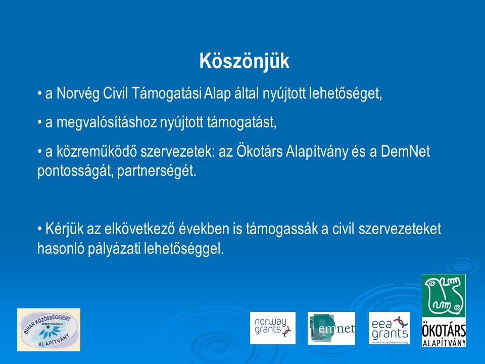 Köszönjük • a Norvég Civil Támogatási Alap által nyújtott lehetőséget, • a megvalósításhoz nyújtott támogatást, • a közreműködő szervezetek: az Ökotárs Alapítvány és a DemNet pontosságát, partnerségét.