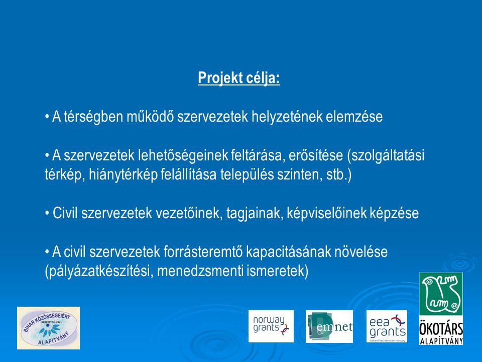 Projekt célja: • A térségben működő szervezetek helyzetének elemzése • A szervezetek lehetőségeinek feltárása, erősítése (szolgáltatási térkép, hiánytérkép felállítása település szinten, stb.) • Civil szervezetek vezetőinek, tagjainak, képviselőinek képzése • A civil szervezetek forrásteremtő kapacitásának növelése (pályázatkészítési, menedzsmenti ismeretek)