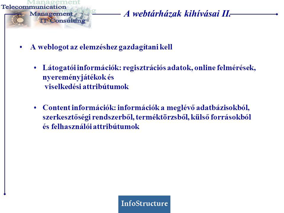 A webtárházak kihívásai II. •A weblogot az elemzéshez gazdagítani kell •Látogatói információk: regisztrációs adatok, online felmérések, nyereményjáték
