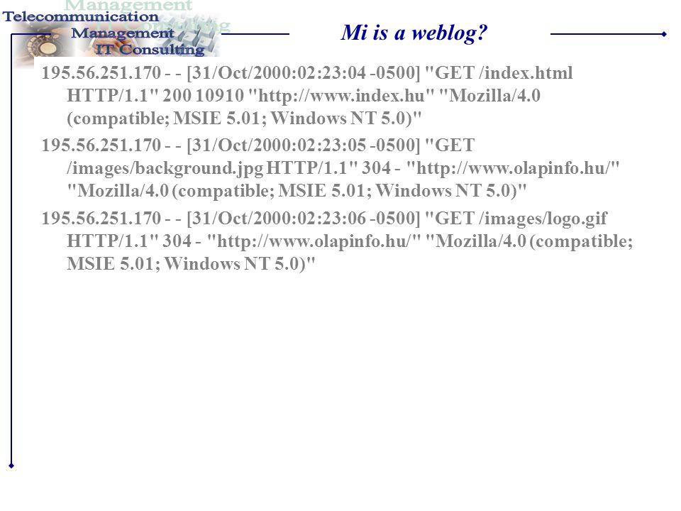 Mi is a weblog? •Böngészés közben a számítgépünk tulajdonképpen állományokat tölt le a webszerverekről •Ezek az állományok vegyesen szövegek (HTML old