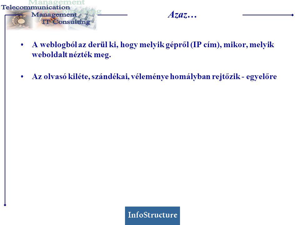 Elemzési megoldások •Kézi számlálás (pl.Perl programmokkal) •Ingyenes elemzőeszközök (pl.