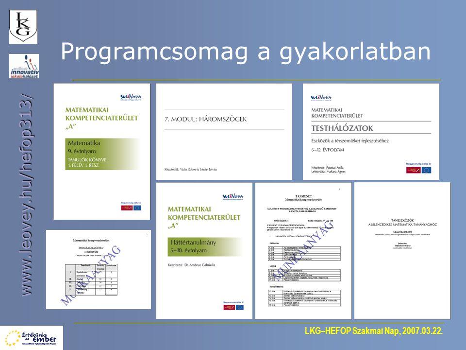 LKG–HEFOP Szakmai Nap, 2007.03.22. www.leovey.hu/hefop313 / Programcsomag a gyakorlatban