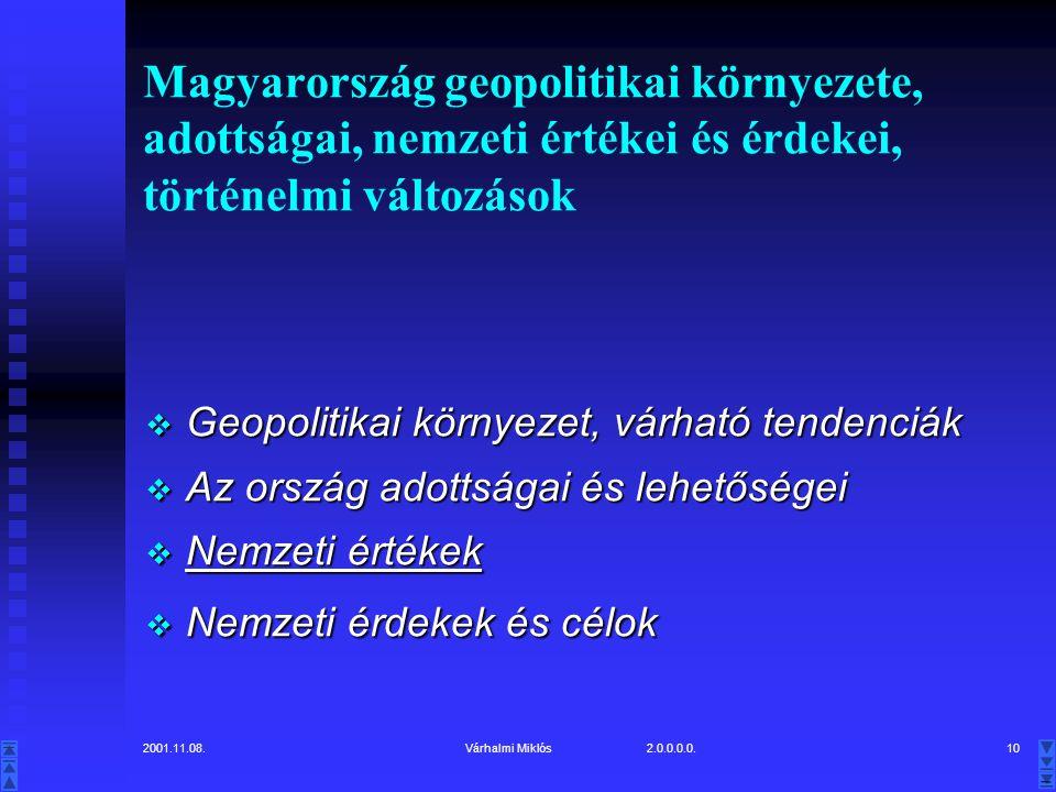 2001.11.08.Várhalmi Miklós 2.0.0.0.0.10 Magyarország geopolitikai környezete, adottságai, nemzeti értékei és érdekei, történelmi változások  Geopolitikai környezet, várható tendenciák  Az ország adottságai és lehetőségei  Nemzeti értékek  Nemzeti érdekek és célok