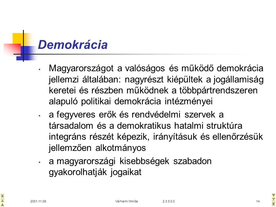 2001.11.08.Várhalmi Miklós 2.3.3.0.014 Demokrácia • Magyarországot a valóságos és működő demokrácia jellemzi általában: nagyrészt kiépültek a jogállamiság keretei és részben működnek a többpártrendszeren alapuló politikai demokrácia intézményei • a fegyveres erők és rendvédelmi szervek a társadalom és a demokratikus hatalmi struktúra integráns részét képezik, irányításuk és ellenőrzésük jellemzően alkotmányos • a magyarországi kisebbségek szabadon gyakorolhatják jogaikat
