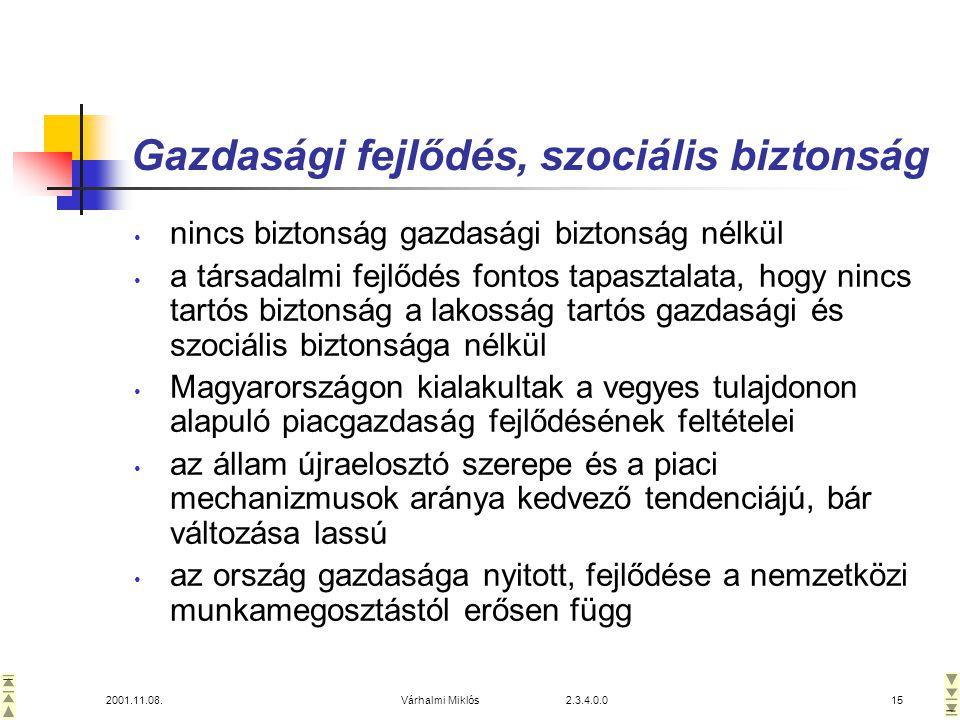 2001.11.08.Várhalmi Miklós 2.3.4.0.015 Gazdasági fejlődés, szociális biztonság • nincs biztonság gazdasági biztonság nélkül • a társadalmi fejlődés fontos tapasztalata, hogy nincs tartós biztonság a lakosság tartós gazdasági és szociális biztonsága nélkül • Magyarországon kialakultak a vegyes tulajdonon alapuló piacgazdaság fejlődésének feltételei • az állam újraelosztó szerepe és a piaci mechanizmusok aránya kedvező tendenciájú, bár változása lassú • az ország gazdasága nyitott, fejlődése a nemzetközi munkamegosztástól erősen függ
