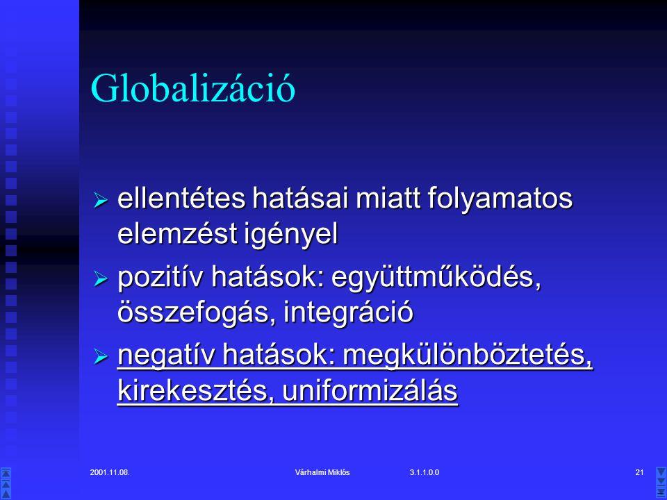 2001.11.08.Várhalmi Miklós 3.1.1.0.021 Globalizáció  ellentétes hatásai miatt folyamatos elemzést igényel  pozitív hatások: együttműködés, összefogás, integráció  negatív hatások: megkülönböztetés, kirekesztés, uniformizálás