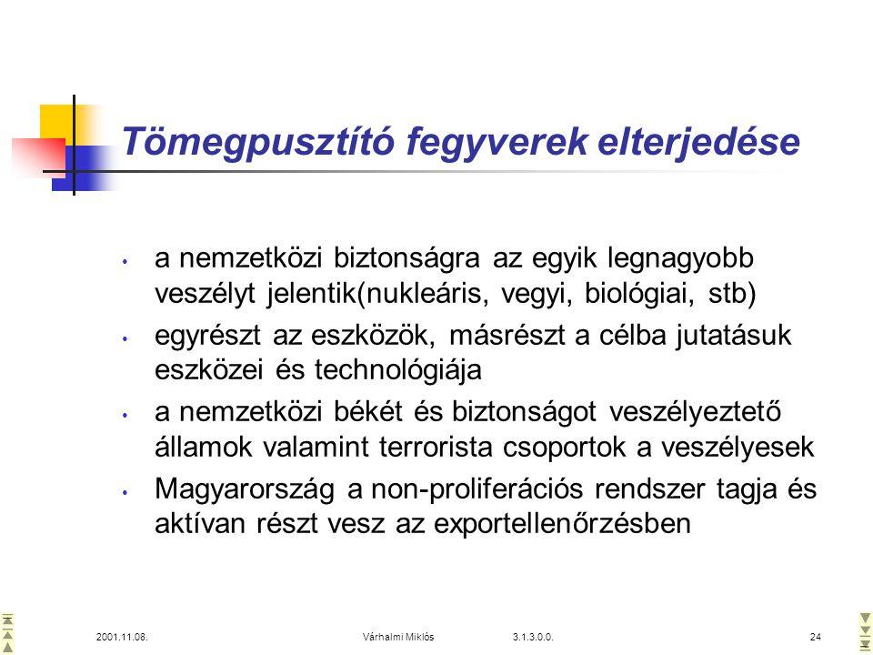 2001.11.08.Várhalmi Miklós 3.1.3.0.0.24 Tömegpusztító fegyverek elterjedése • a nemzetközi biztonságra az egyik legnagyobb veszélyt jelentik(nukleáris, vegyi, biológiai, stb) • egyrészt az eszközök, másrészt a célba jutatásuk eszközei és technológiája • a nemzetközi békét és biztonságot veszélyeztető államok valamint terrorista csoportok a veszélyesek • Magyarország a non-proliferációs rendszer tagja és aktívan részt vesz az exportellenőrzésben