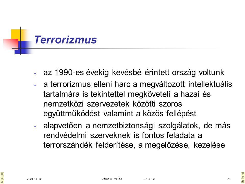 2001.11.08.Várhalmi Miklós 3.1.4.0.0.25 Terrorizmus • az 1990-es évekig kevésbé érintett ország voltunk • a terrorizmus elleni harc a megváltozott intellektuális tartalmára is tekintettel megköveteli a hazai és nemzetközi szervezetek közötti szoros együttműködést valamint a közös fellépést • alapvetően a nemzetbiztonsági szolgálatok, de más rendvédelmi szerveknek is fontos feladata a terrorszándék felderítése, a megelőzése, kezelése