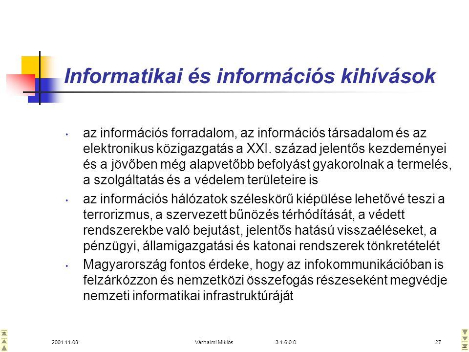2001.11.08.Várhalmi Miklós 3.1.6.0.0.27 Informatikai és információs kihívások • az információs forradalom, az információs társadalom és az elektronikus közigazgatás a XXI.