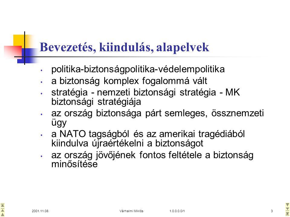 2001.11.08.Várhalmi Miklós 1.0.0.0.0/13 Bevezetés, kiindulás, alapelvek • politika-biztonságpolitika-védelempolitika • a biztonság komplex fogalommá vált • stratégia - nemzeti biztonsági stratégia - MK biztonsági stratégiája • az ország biztonsága párt semleges, össznemzeti ügy • a NATO tagságból és az amerikai tragédiából kiindulva újraértékelni a biztonságot • az ország jövőjének fontos feltétele a biztonság minősítése