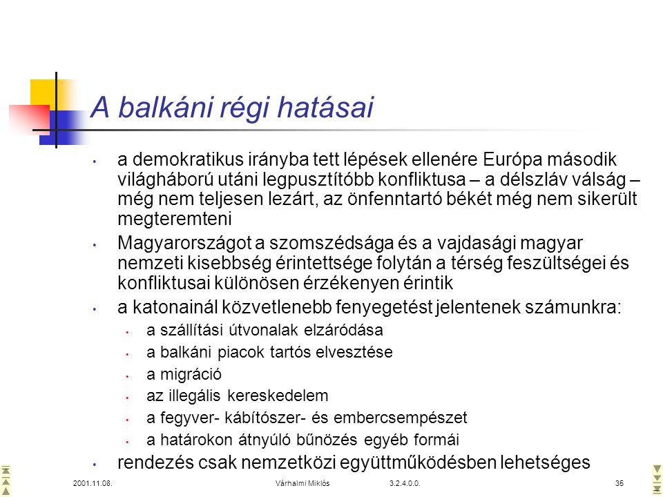 2001.11.08.Várhalmi Miklós 3.2.4.0.0.35 A balkáni régi hatásai • a demokratikus irányba tett lépések ellenére Európa második világháború utáni legpusztítóbb konfliktusa – a délszláv válság – még nem teljesen lezárt, az önfenntartó békét még nem sikerült megteremteni • Magyarországot a szomszédsága és a vajdasági magyar nemzeti kisebbség érintettsége folytán a térség feszültségei és konfliktusai különösen érzékenyen érintik • a katonainál közvetlenebb fenyegetést jelentenek számunkra: • a szállítási útvonalak elzáródása • a balkáni piacok tartós elvesztése • a migráció • az illegális kereskedelem • a fegyver- kábítószer- és embercsempészet • a határokon átnyúló bűnözés egyéb formái • rendezés csak nemzetközi együttműködésben lehetséges