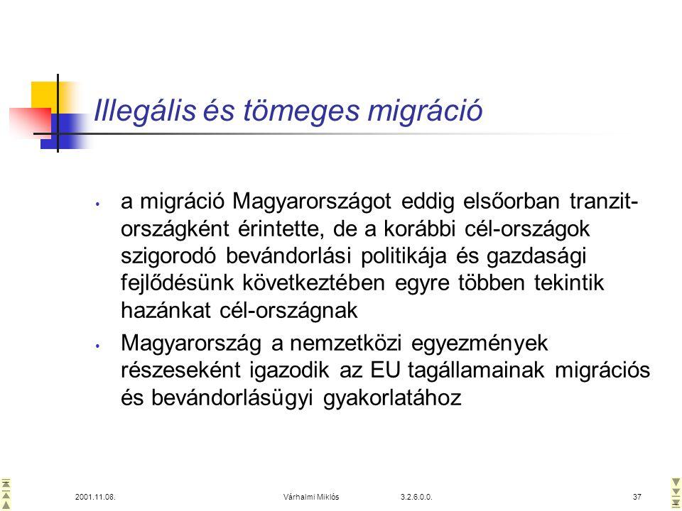 2001.11.08.Várhalmi Miklós 3.2.6.0.0.37 Illegális és tömeges migráció • a migráció Magyarországot eddig elsőorban tranzit- országként érintette, de a korábbi cél-országok szigorodó bevándorlási politikája és gazdasági fejlődésünk következtében egyre többen tekintik hazánkat cél-országnak • Magyarország a nemzetközi egyezmények részeseként igazodik az EU tagállamainak migrációs és bevándorlásügyi gyakorlatához