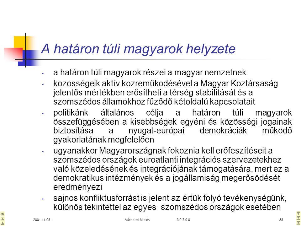 2001.11.08.Várhalmi Miklós 3.2.7.0.0.38 A határon túli magyarok helyzete • a határon túli magyarok részei a magyar nemzetnek • közösségeik aktív közreműködésével a Magyar Köztársaság jelentős mértékben erősítheti a térség stabilitását és a szomszédos államokhoz fűződő kétoldalú kapcsolatait • politikánk általános célja a határon túli magyarok összefüggésében a kisebbségek egyéni és közösségi jogainak biztosítása a nyugat-európai demokráciák működő gyakorlatának megfelelően • ugyanakkor Magyarországnak fokoznia kell erőfeszítéseit a szomszédos országok euroatlanti integrációs szervezetekhez való közeledésének és integrációjának támogatására, mert ez a demokratikus intézmények és a jogállamiság megerősödését eredményezi • sajnos konfliktusforrást is jelent az értük folyó tevékenységünk, különös tekintettel az egyes szomszédos országok esetében