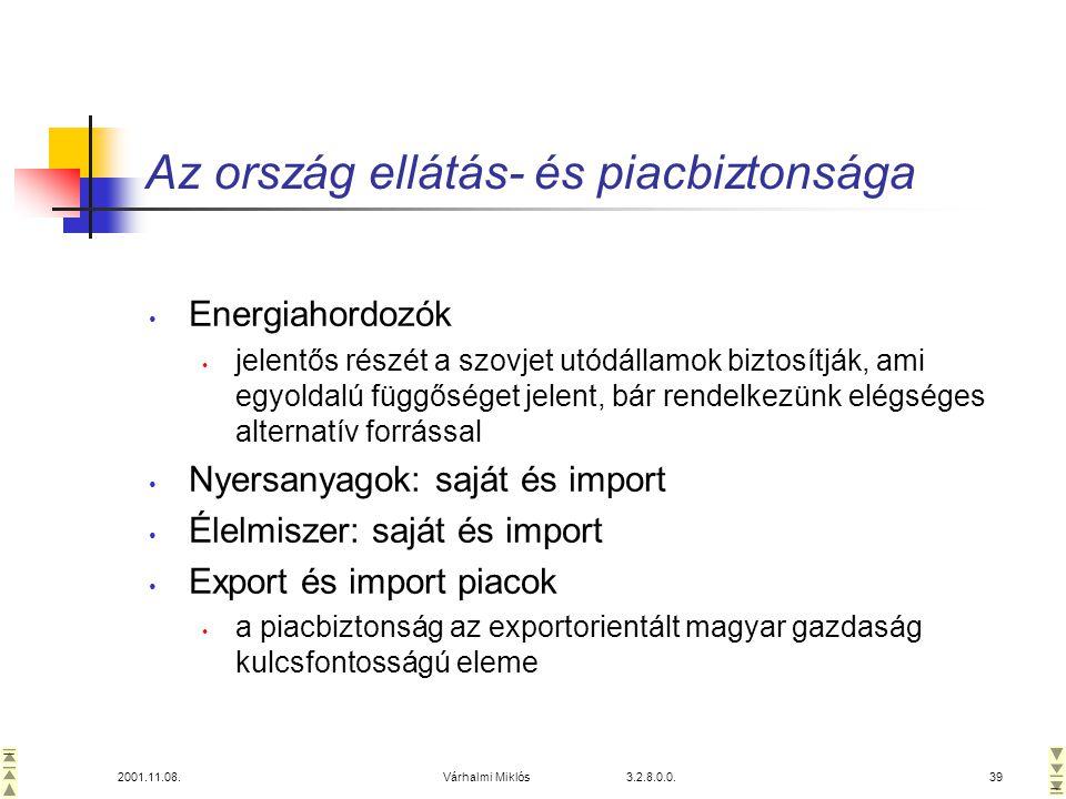 2001.11.08.Várhalmi Miklós 3.2.8.0.0.39 Az ország ellátás- és piacbiztonsága • Energiahordozók • jelentős részét a szovjet utódállamok biztosítják, ami egyoldalú függőséget jelent, bár rendelkezünk elégséges alternatív forrással • Nyersanyagok: saját és import • Élelmiszer: saját és import • Export és import piacok • a piacbiztonság az exportorientált magyar gazdaság kulcsfontosságú eleme